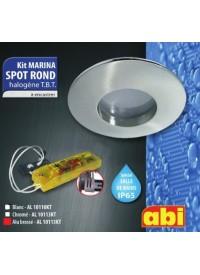 Kit spot rond Alu Brossé Halogène salle de bain a encastrer ABI IP65