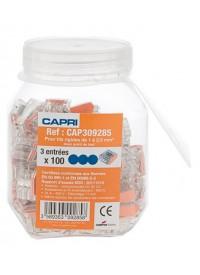 Lot de 100 bornes de connexion rapide auto pour 3 fils électriques de 1 à 2.5² Capri