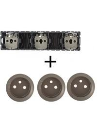 Mécanisme + Enjoliveur Prise Triple Précablée 3 X 2 P+T Standard Céliane Legrand
