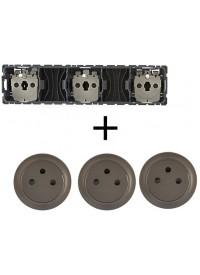 Mécanisme + Enjoliveur Prise Triple Précablée 3 X 2 P+T Surface Céliane Legrand