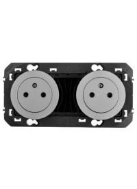 Mécanisme Prise Double Précablée 2 X 2 P+Terre Aluminium Dooxie Legrand